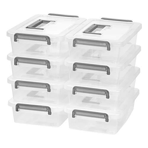 IRIS Medium Modular Latching Box - Silver Handle, 8 Pack