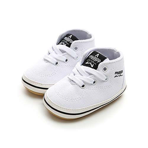 Sabe Unisex Baby Toddler Boys Girls Soft Rubber Anti-Slip Sole Canvas High-Top Ankle Sneakers Infant First Walkers Canvas Denim Newborn Crib Shoes