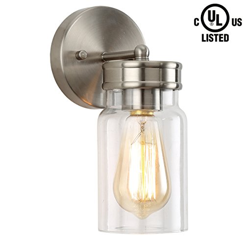 Brushed Nickel One Light Sconce - HOMIFORCE Contemporary Style 1-Light Brushed Nickel Wall Sconce with Super-Thick Glass Shade Simplicity Industrial Retro Edison Fixture in Nickel Finish CL2017090-1 (Reinmuth Nickel)
