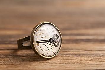 Llavero antiguo, anillo ajustable, anillo de latón, llavero ...
