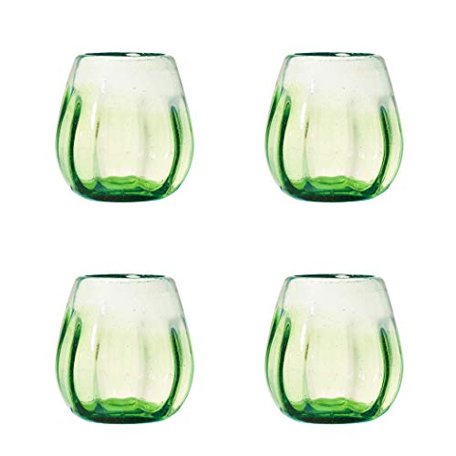 Amici Home, A7MCR062S4R Rosa Collection Stemless Wine Glass, Lime Green, Recycled, Mexican Artisan Handmade Glassware, Set of 4, 16 Ounces ()
