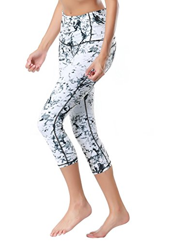 Dragon Fit Compression Yoga Pants Power Stretch Workout Leggings With High Waist Tummy Control, 03white-capri, Large