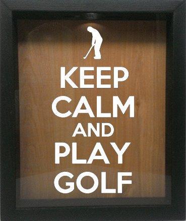 Wooden Shadow Box Wine Cork/Bottle Cap Holder 11x14 - Keep Calm And Play Golf With Golfer (Ebony (Golf Photo Holder)
