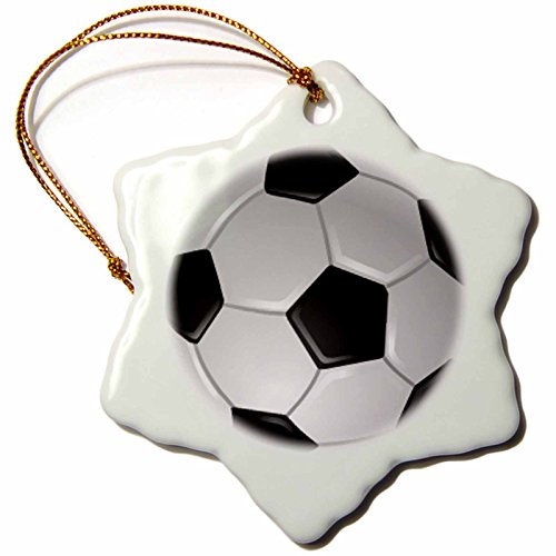 3dRose LLC Soccer Ball 3-Inch Snowflake Porcelain Ornament by 3dRose