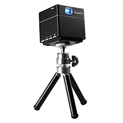 ExquizOn S6 Mini Cube Pico DLP Projector 30,000 Hour LED 1080P Supported HD Wireless Wifi Smart Video Projector Compatible with HDMI Devices Micro SD Card - Includes Mini Tripod