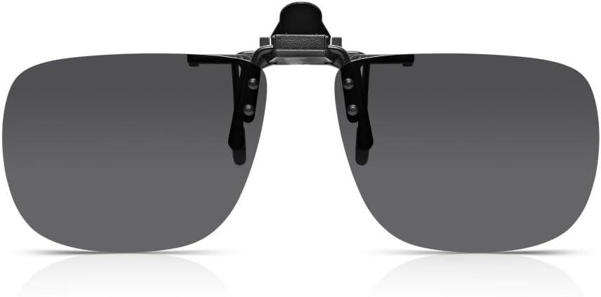 Read Optics Gafas de sol con clip: para hombre / para mujer con lentes polarizados que se ajustan a los anteojos y los lectores con receta. Lente 100% sin protección gris humo Smoke UV400 en resistente policarbonato a prueba de roturas