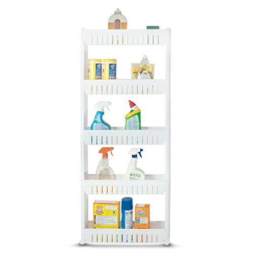 Bathroom and Kitchen Slim Storage Cart - Slide Out Shelf Storage Tower Cabinet as a Plastic Small Mobile Shelving with 5 Shelves Narrow Space Organizer in Laundry Room Closet Office