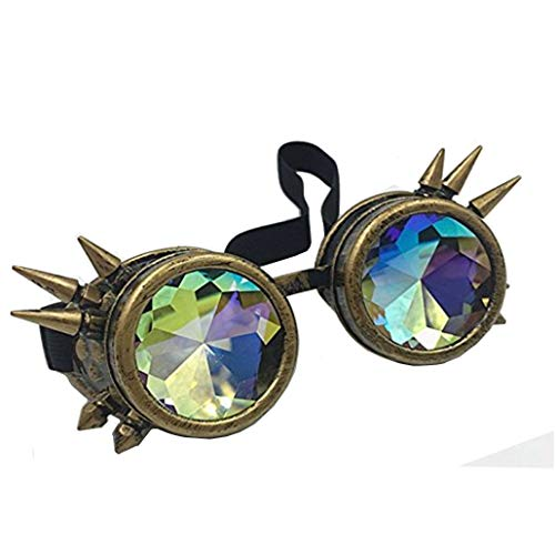 Glasses KING Vintage Spiked Steampunk Goggles Glasses With Elastic Band And Colored Diamond Lens - Retro Victorian Cosplay(Bronze ()