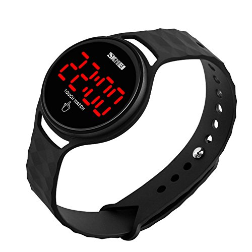 Men Women Unisex Sport Digital Running Watch Electronic Waterproof Outdoor Casual Military Watches with Touch Screen LED Display Calendar Date Wristwatch - Black