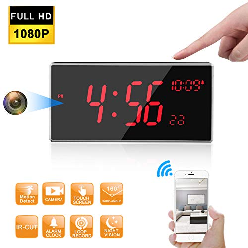 Hidden Camera -Spy Camera -WiFi Spy Camera - FHD 1080P Clock Camera More Than 33FT Night Vision with IR-Cut Support Motion Detcetion 160 Degree Angle Multiple Use for Home/Office/Outside