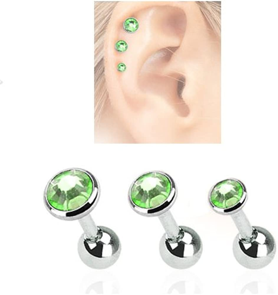 3 Pack Tragus Helix Green CZ Studs 316L Surgical Steel Ear Cartilage Jewelry 16G