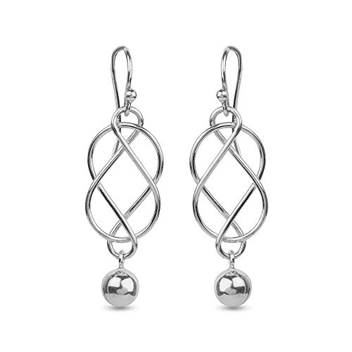 LeCalla Sterling Silver Jewelry Italian Design Celtic Knot Inspire Dangler Earring for Women