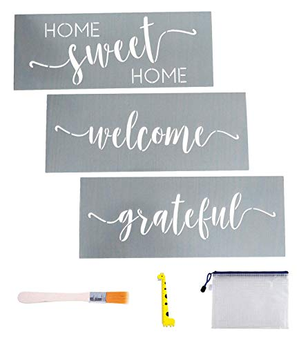 """3 PCS Home Sweet Home, Welcome, Grateful Stencils - 0.25mm Thickness Reusable Stencil Set for Painting on Wood, Home Décor & DIY Projects with Brush/Storage Bag/Ruler, 14.2"""" x 5.5"""""""