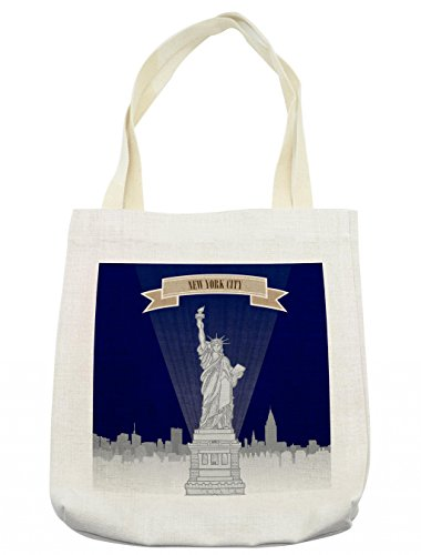 Lunarable USA Tote Bag, New York City Silhouette with Greyscale Statue of Liberty on Blue Background, Cloth Linen Reusable Bag for Shopping Groceries Books Beach Travel & More, ()