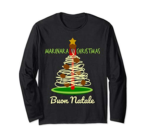 Marinara Christmas Spaghetti and Meatballs Pasta Tree Unisex Long-Sleeve T-Shirt
