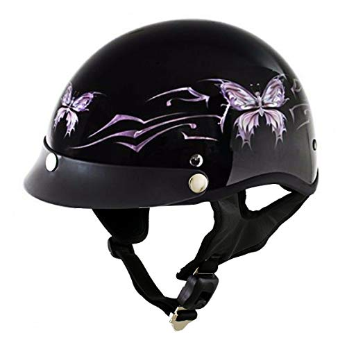 Outlaw T70 'Purple Butterfly' Advanced DOT Glossy Black Motorcycle Half Helmet - Medium