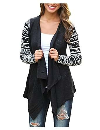AuntTaylor Womens Plain Hi Low Asymmertric Hem Long Sleeve Cardigans Black S