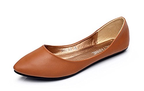 Aisun Womens Comfy Simple Low Cut Flat Loafers Brown xCuXofmC
