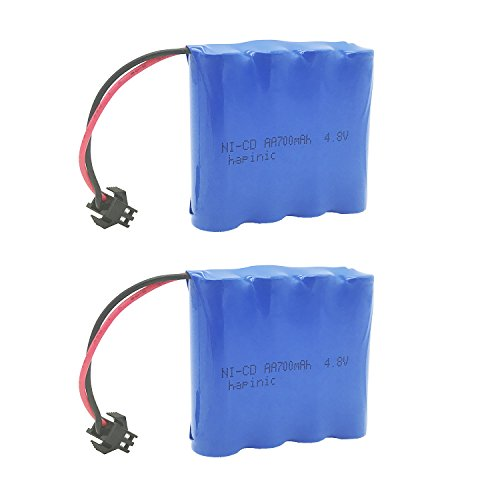 Nicd Battery Packs - Hapinic 2PCS 4.8V 700mAh RC Car Rechargeable Battery Ni-Cd AA High Capacity Battery Pack for Four Wheels Race Car