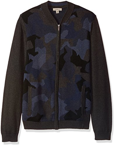 Ribbed Calvin Klein Cardigan (Calvin Klein Jeans Men's Jaquard Camo Full Zip Sweater, Norton Blue Heather, Large)