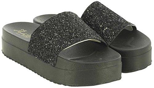 KOALA BAY WoMen Cassie Platform Sandals Black (Black 002)