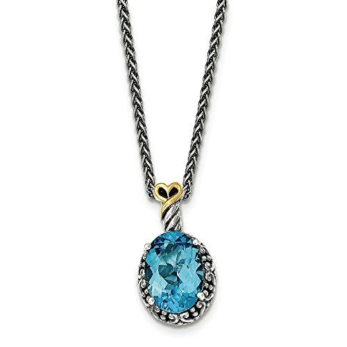 Argent Sterling Lt jaune 14 carats avec topaze bleue suisse ovale pendentif-JewelryWeb
