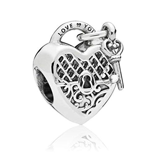 SUNWIDE Love You Lock Key fit Pandora Charms Bracelets (White) (Pandora Best Friend Butterfly Charm)