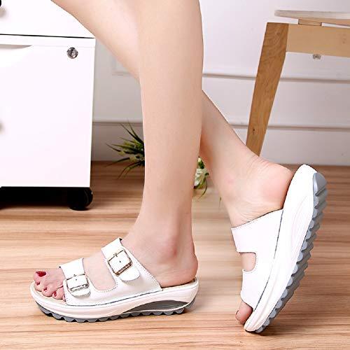 Pantofole Peep Con Scarpe Sandali Cinturino Tqgold Toe Donna Bianco Spiaggia wTUnE