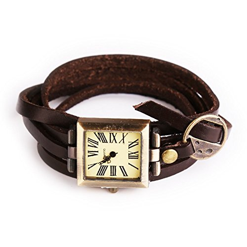 Simple Leather Vintage Female Bracelet Quartz Watch Square Wristwatch Brown
