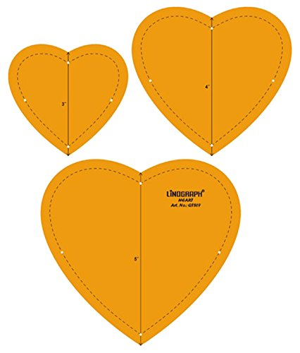 Heart Shape Quilting Patchwork Shape Scale Template Set of 3 ()