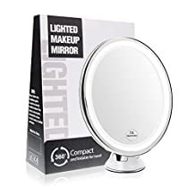 Terresa 7X Magnifying Lighted Makeup Mirror with Suction Cup - Lightweight Travel and Oval Design Bathroom Shower Mirror with Lights and Magnification - Standing or Wall Mounted