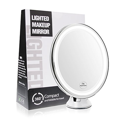 Terresa 7X Magnifying Lighted Makeup Mirror with Suction Cup - Lightweight Travel and Oval Design Bathroom Shower Mirror with Lights and Magnification - Standing or Wall - Right Glasses Shape Face For