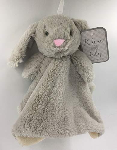 Kellytoy Baby Bunny Rabbit Security Plush Blanket With Lovey Rattle Grey