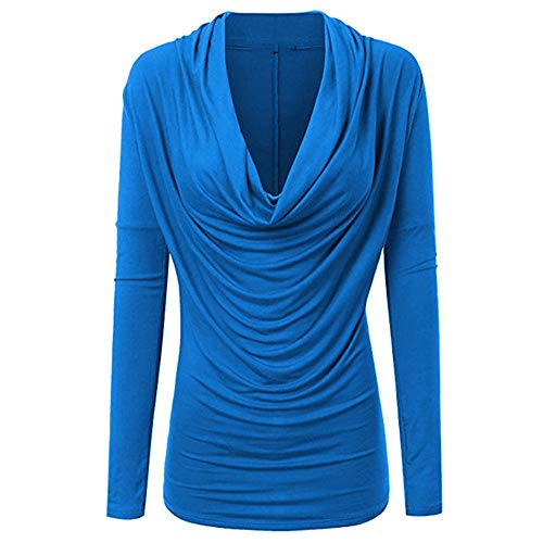 HYIRI Cowl Neck Autumn Winter T Shirt,Women Fashion Long SleeveOutwear Tops - Electric Blue Cowl Neck