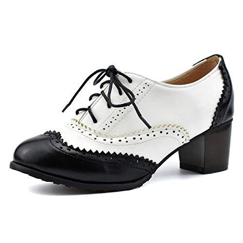 100FIXEO Women Block Heel Wingtip Oxford Shoes (10.5 M US, Black) ()