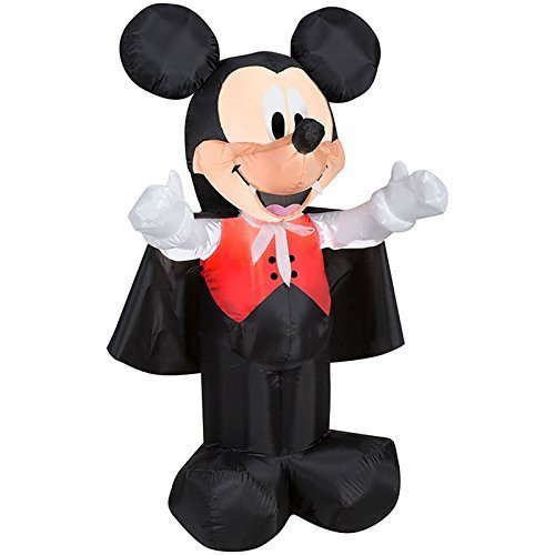 Gemmy Airblown Inflatable Mickey Dressed As A Vampire With A Cape -  Indoor Outdoor Holiday Decoration, 3.5-foot Tall - Small Frankenstein Decoration Display