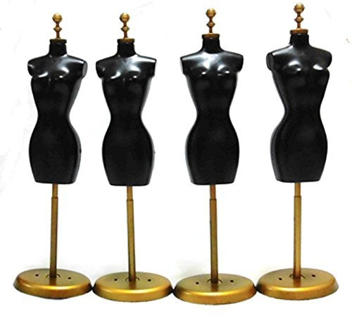 Fashion doll torso 1 4 25 cm / 6 mannequin miniature doll clothes black gold gold display dress in black
