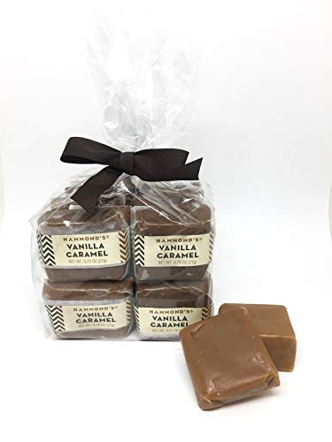 16 Pieces Vanilla Caramels, Wrapped, 12 Ounce Bag, Hammonds Candy, Hand Made