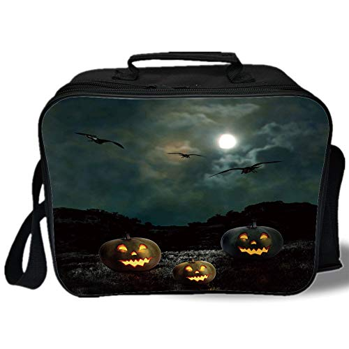 Insulated Lunch Bag,Halloween,Yard of an Old House at Night Majestic Moon Sky Creepy Dark Evil Face Pumpkins Decorative,Multicolor,for Work/School/Picnic, -