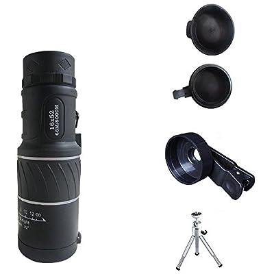 Universal Monocular 16 X 52 Zoom Clip-On Aluminum Telephoto Manual Focus Telescope Camera Lens Phone Lens (Black) with Tripod