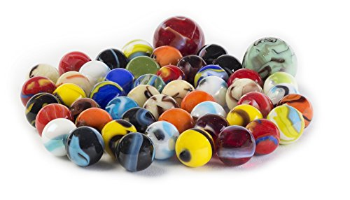 Glass Marbles Bulk Set OF 50 48 Players and 2 Shooters Assorted Colors Styles and Finishes with Game Marbles Rules
