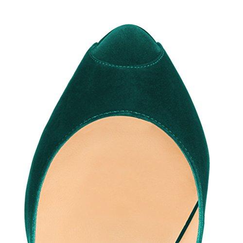 femme MONICOCO Samt Dunkelgrün chaussures compensées Yqrq0S