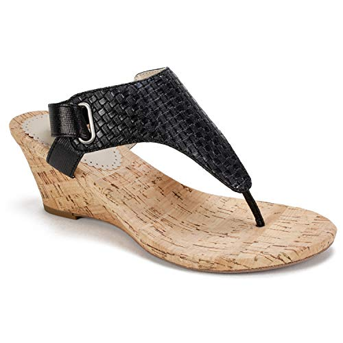 WHITE MOUNTAIN Women's All Good Wedge Sandal, Black Woven Metallic, 8 M - Sandals Woven Cork