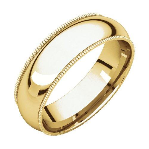 FB Jewels 18K Yellow Gold 6mm Milgrain Comfort Fit Mens Wedding Ring Band