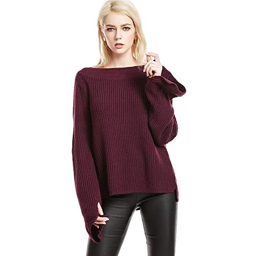 Red Boatneck Sweater - ENIDIML Women Off Shoulder Knit Sweater Pullover Top (Wine Red, L)