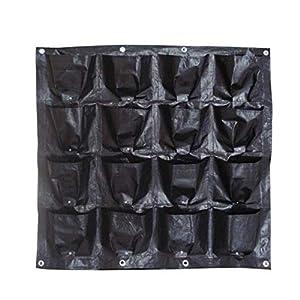 Borsa per piante Black Wall colore pensili Piantare Borse 16 tasche coltiva il sacchetto Planter verticale Orto Living Garden Bag 98 * 98CM (Color : Black) 5 spesavip