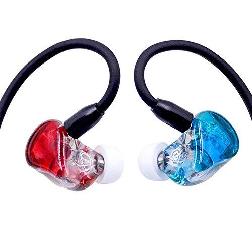 Canal Stereo (HiLisening K5 high-end MMCX Detachable Earphone Hybrid 5 BA Drivers High Fidelity Ear Canal Stereo Headphones (Red+ Blue))