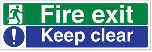VSafety Fire Exit//Keep Clear Sign Landscape 450mm x 150mm Self Adhesive Vinyl