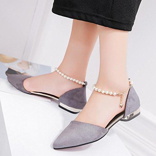 Casual Perlen Spitz Party Grau Sandalen Förderung Frauen Große Schuhe Knöchel SANFASHION Mode niedrighackigen R6a81q