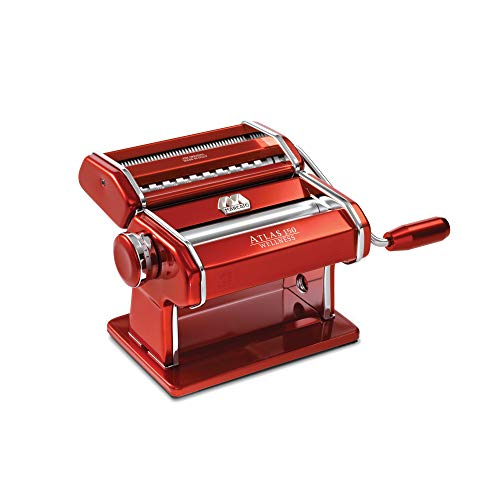 Marcato 8334 Atlas Machine, Made in Italy, Red, Includes Pasta Cutter, Hand Crank, and Instructions, Red Red